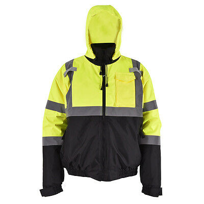 Hi-Vis Class 3 Hooded Bomber Winter Safety Jacket Reflective Coat Waterproof New