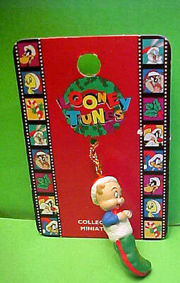 LOONEY TUNES mini ORNAMENTS Porky Pig in stocking  Warner Bros.