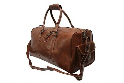 Leather Weekend Bag Chestnut Cowhide Gym Duffle Overnight Travel Duffel Holdall