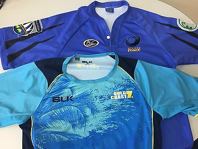 LARGE Western force jersey + gold coast 7's shirt BLK rugby union