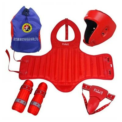 Free Combat & Boxing Protective Gear 5pcs Set with Bag red Taekwondo