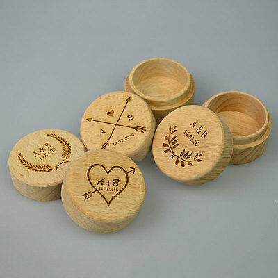 Personalized Rustic Wedding Wooden Ring Bearer Box Engraved Trinket Gift Case
