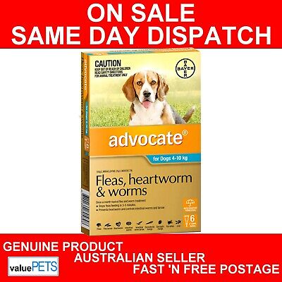 Advocate For Dogs Flea & Worm Treatment 4-10kg 6 Pack  GENUINE 6PK