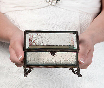Wedding Ring Bearer Box Glass Rustic Antique Bronze Best Man Proposal Ring Box