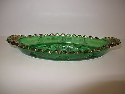 Victorian Antique Green & Gold McKee Style Olive Dish Oval Glass Scalloped