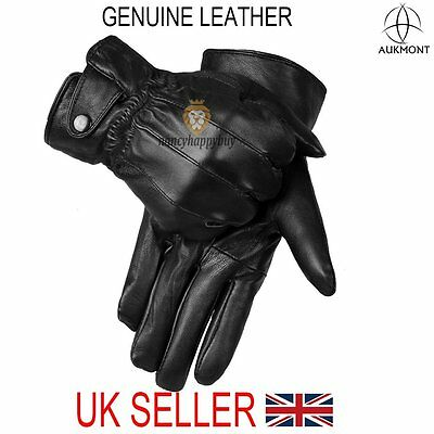 Mens 100% Real Leather GlovesThermal Thinsulate Lined Black Warm Driving Winter