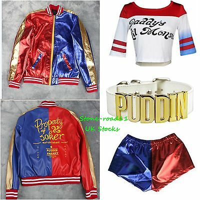 Harley Quinn Red+Blue Glossy Jacket Coat Suicide Squad T Shirt+Shorts DC Costume