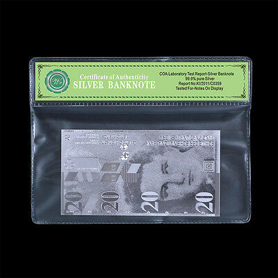 20 Switzerland Francs Banknote Plated With Real 999 Silver Foil In Mylar Sleeve