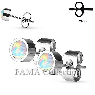 FAMA Pair of Round Opal Bezel Set 316L Stainless Steel Stud Earrings Select Size