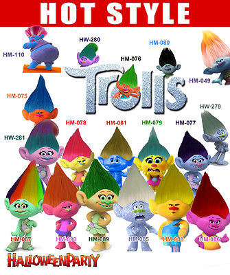 Troll Color Costume Wig Adult & Kids Size (18 Different Styles)