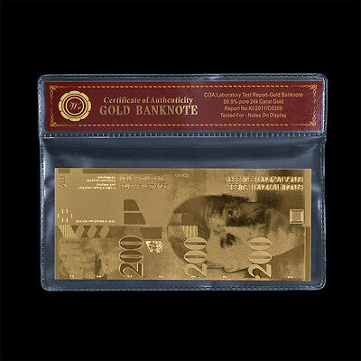 Switzerland 200 Francs Note 24k Gold Swiss Banknote Uncirculated Free COA Frame