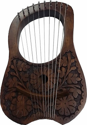 New Engraved Lyre Harp Rosewood 10 Metal Strings + Free Carrying Case and Key.