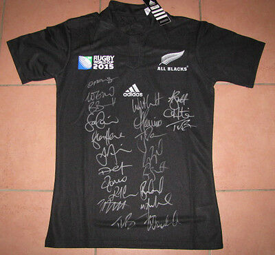2015 New Zealand Allblacks World Cup Jersey Hand Signed x Team & Coach