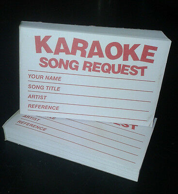 4 x 100 Karaoke request slips - Red - FREE POSTAGE
