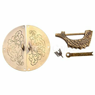Ancient Chinese Style Cupboard Door Pull Handle Knock Hasp Latch Retro Fish Lock