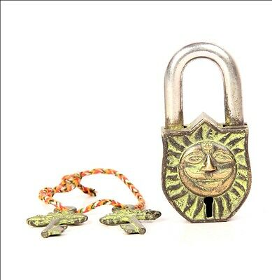 Brass Surya Sun Embossed 2 Key Handcrafted Brass Pad Lock 6259