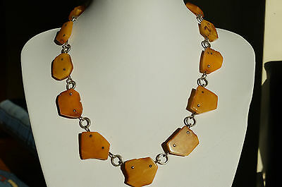 Antique Baltic Sea Amber Necklace 29.25 Grams  Egg Yolk,beeswax Color
