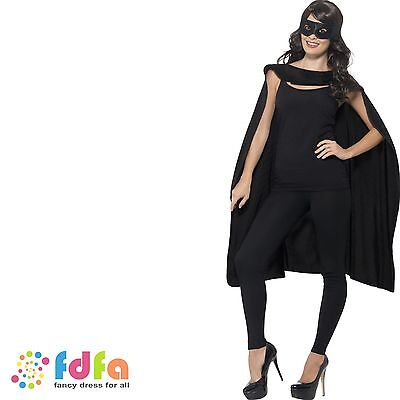 BLACK SUPER HERO MID LENGTH CAPE & EYEMASK Adult Ladies Mens Fancy Dress Costume