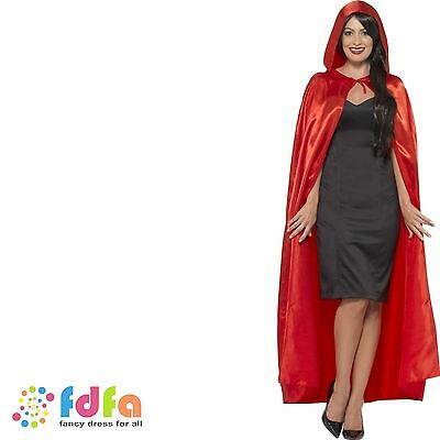 RED HOODED LONG CAPE RED RIDING HOOD DEVIL Adult Ladies Mens Fancy Dress Costume