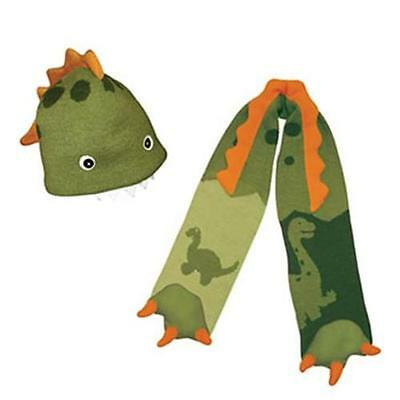 LOVELY Dinosaur 3-6yrs Kidorable Hat Scarf Set Childrens Boys Kids Green Dino