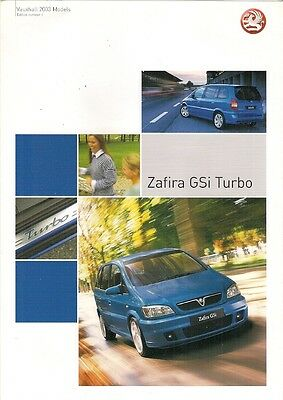 Vauxhall Zafira GSi Turbo 2002-03 UK Market Foldout Sales Brochure