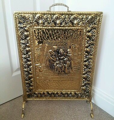 Vintage Brass Covered Fireplace Screen