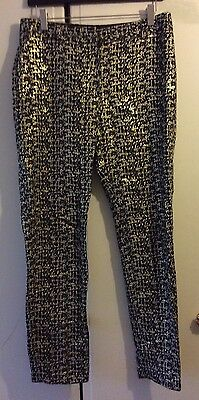 VINTAGE Black & Gold Lame Trousers | Straight Cut Disco | Size S 8/10