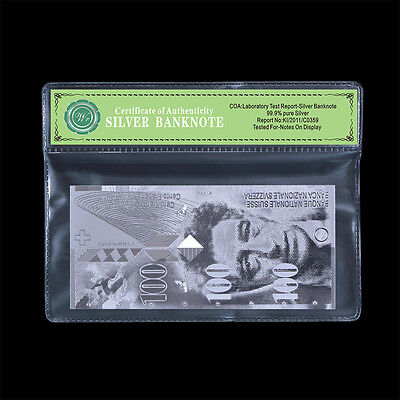 Switzerland Swiss 100 Francs Bill Pure Silver Banknote Uncirculated In COA Frame