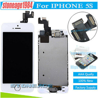 For iPhone 5S White LCD Touch Screen Digitizer Replacement + Home Button +Camera