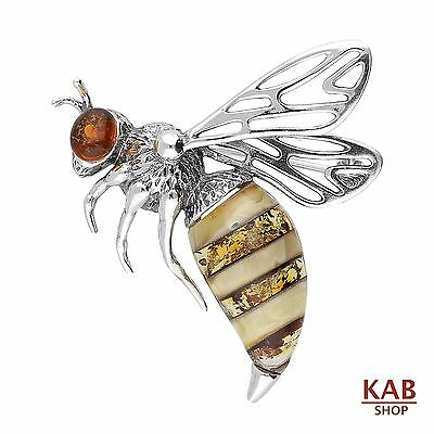 Natural Baltic Amber Sterling Silver 925 Jewellery Bee Brooch/pin, Kab-166