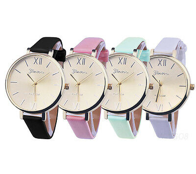 Womens Fashion Watch Roman Numerals Dial Leather Thin Band Dress Wrist Watches