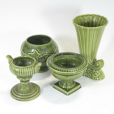 Selection of Dartmouth Pottery - Green - Posy Bowl, Candle Bowl, Vase, Urn Vase
