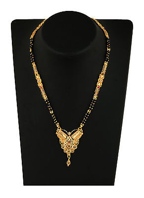 "Indian Mangalsutra 22K Gold Plated Black Beads 26"" Traditional Necklace M379B"
