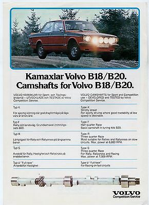 Volvo Competition Service B18 B20 Camshafts 1977 UK Market Leaflet Brochure