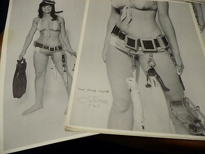 """RARE 1974 SCUBA POSTERS-""""Miss Handy Weights """"Tina"""" (4 sets of 2 posters)"""