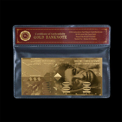 Switzerland 100 Francs Banknote Real 24k Gold Swiss Note Collectable In COA Case