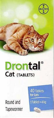 40 Tablets (1 Box) Bayer Drontal Plus Flavour Dewormer For Cats