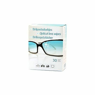 60 Optical Lens Cleaning Wipes for Glasses Glass Lenses Monitors Visors