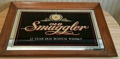 """Vintage Old Smuggler 12 Year Old Scotch Whisky Bar Mirror Sign 27.5""""X 20.5"""" RARE"""