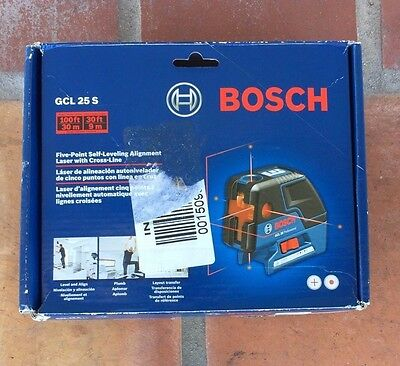 New Bosch GCL 25 S Five-Point Self-Leveling Alignment Laser Level w/Cross-Line