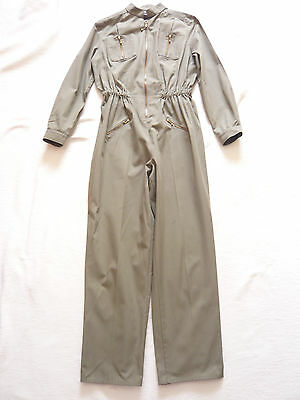 Vintage 1980s Khaki flying/boiler suit w zipped pockets by Match Set VGC Size 14