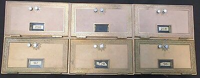 "1960's Brass Post Office PO Boxes/Doors, Combination Locks, 11"" x 6.5"" Lot of 6"