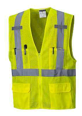 "Portwest 2"" Silver Reflective Tape Hi-Vis Safety Vest Sizes M-5Xl Us370 Class 2"