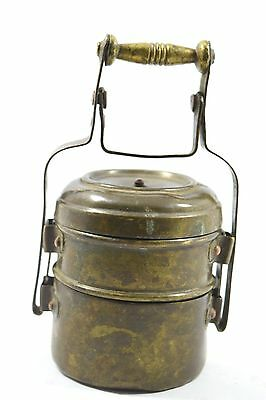 Vintage Old Rare Handcrafted Brass 2 Compartment Lunch Box / Tiffin. G66-47.