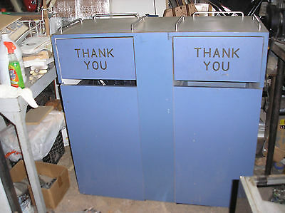 Commercial  Restaurant (2) Garbage Can & Tray  Cabinet  - Great Condition