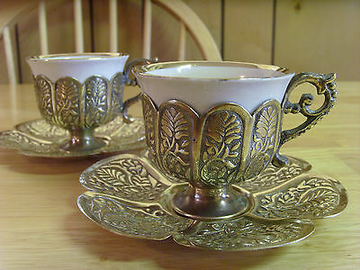 Antique Vintage Set Of Two Silver Ottoman Turkish Coffee Cups, Six Pieces, Rare