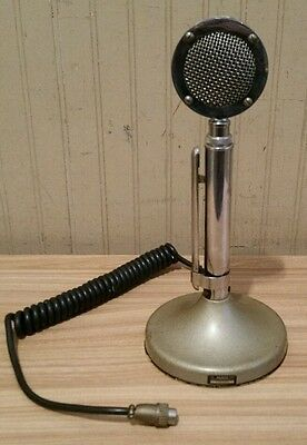 Astatic D-104 Silver Chrome Lolipop Microphone 4 Pin T-UG8 Stand ~ CLEAN & WORKS