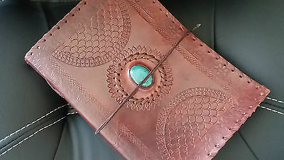 Handmade Leather Journal Christmas Gift Diary Turquoise Green Stone Notebook10x7