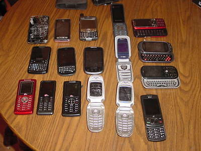Used Cell Phone Lot Of 17 For Parts Or Repair