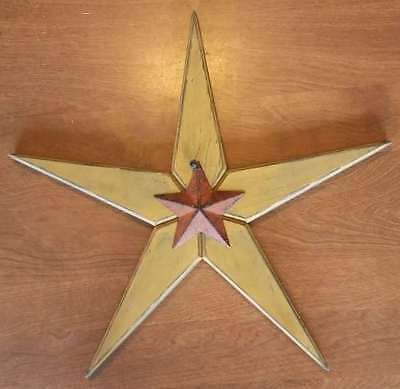 Primitive Distressed Wooden Star Mustard with Small Rust Metal Star